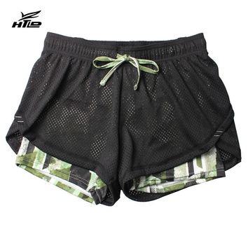 HTLD Gym Double Layer Running Shorts Women Fitness Outdoor Sport Shorts 2 In 1 Ladies Shorts Feminina Athletic Joggings Shorts