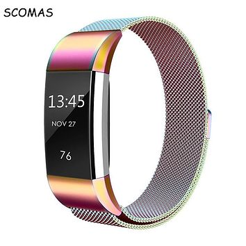 SCOMAS Magnetic Milanese stainless steel strap for Fitbit Charge 2 band for charge 2 smart wristband bracelet strap charge2