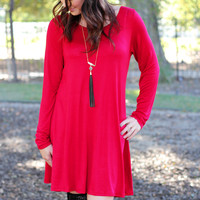 All I Ask Knit Tunic Dress Red