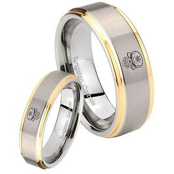 His Hers Step Edge Skull Leaf 14K Gold 2 Tone Tungsten Wedding Rings Set