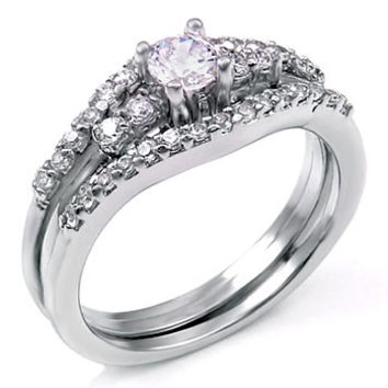 sterling silver 075 carat round cut cz wedding ring set with ring guard size 5 - Wedding Ring Guards