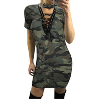 Summer Women Sexy Bodycon Dress Lace-Up Halter V-Neck Short Sleeve Camouflage Print Bandage Dress Vestidos Femme Plus Size GV589