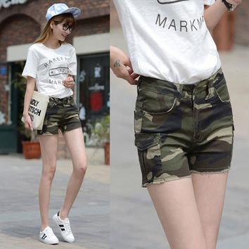 2016 New Casual Women Camo Jean Short Pant With Pocket Women Outdoor Camouflage Skinny Short Pant High Quality