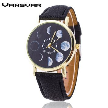 Vansvar Moon Phase Astronomy Space Watch Fashion Women Quartz Watches Casual Leather Wrist Watch Relogio Feminino  1766