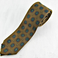 Vintage MOD 60s Tie, Mens Floral Skinny Tie, Brown and Blue Skinny Tie, Atomic Age Era, Mid Century Modern, Gift for Him Dad Men Boyfriend