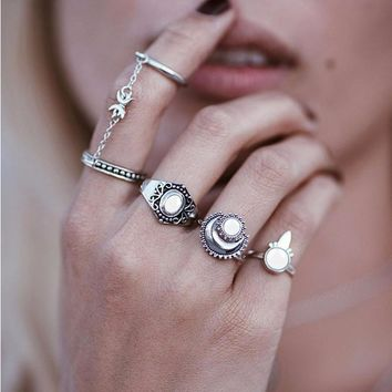 4 Piece Silver Ring Set