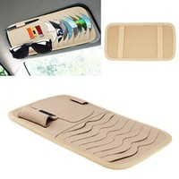 Vulcan-x Detachable CD Sun Visor Organizer with 8 CD Slots + 3 Credit Cards Pockets + 1 Sunglasses Holder + 1 Pen holder PU Material- Beige