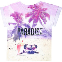 River Island Mini girls pink pug paradise t-shirt