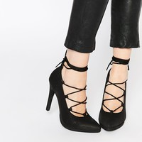 Call It Spring Tortosa Black Tie Up Heeled Court Shoes