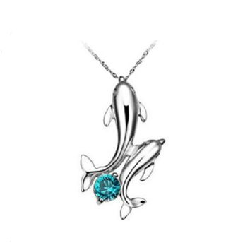 Cute Silver Plated Double Dolphins Pendant Charm Chain Necklace Jewelry
