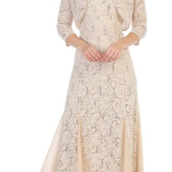 Tea-Length Lace Wedding Guest Dress with Bolero Jacket Khaki