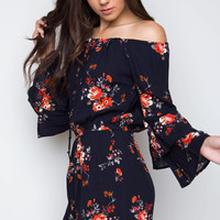 Embraceable Floral Romper - Navy