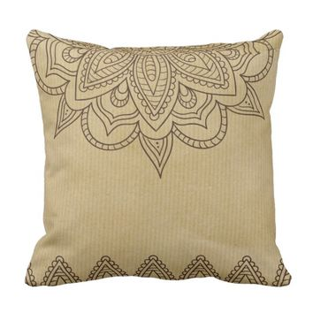 Brown Vintage Mandala Floral Tan Throw Pillow