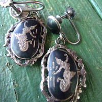SIAM Black Sterling Silver Dangle Earrings, Oval Niello Enamel Mekala Dancer, Vintage