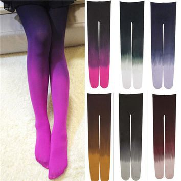 Womens Four Seasons 120D Velvet Gradient Opaque Seamless Pantyhose Stockings Candy Color Tights Medias Tayt 6 colors