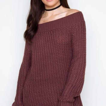 Looking Up Off The Shoulder Sweater - Plum