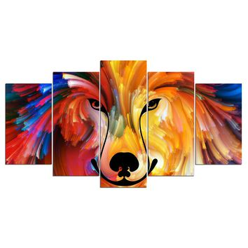 Abstract colorful dog animal painting style panel wall art on canvas