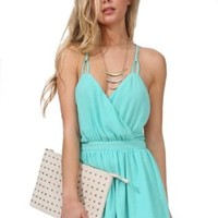 Sheinside Women's Mint Green Spaghetti Strap Backless Pleated Jumpsuits (S, Green)