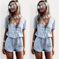 Light Blue V-Neck Romper with Drawstring