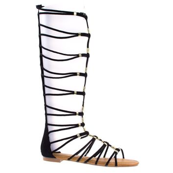 Magical13S Black By Bamboo Faux Suede Gladiator Flat Open Toe Strappy Sandal, Roman / Greek Goddess Shoe.