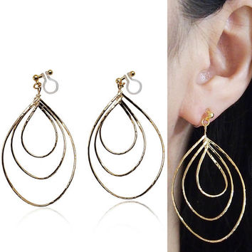 Gold Invisible Clip on Hoop Earrings Dangle Clip Triple Hoop Earrings Teardrop Earrings Non Pierced Earrings Clip-ons Gift for Her