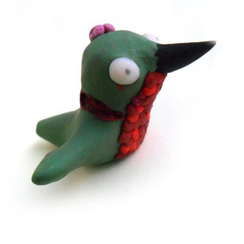 Undead zombie hummingbird ,ruby throated bird figurine in green and red polymer clay