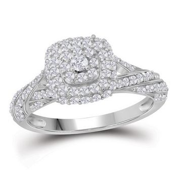 10kt White Gold Womens Round Diamond Solitaire Halo Bridal Wedding Engagement Ring 3/4 Cttw