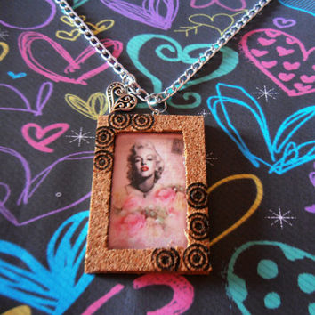 Marilyn Monroe Necklace Pendant Laminated Photo Cork Frame Handmade Jewelry