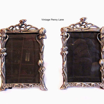 2 Pewter / Silver Metal Picture Frames, 3 1/2 x 2 1/2