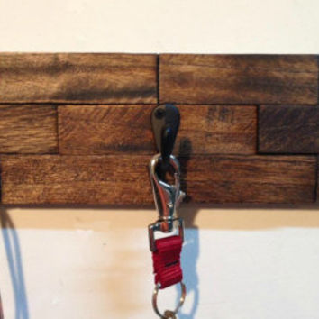 Rustic wall mount key rack, entryway storage rustic key holder, dog leash holder, key hooks