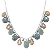 16in x 1.5in Extension Amazonite Necklace with Cultured Freshwater Pearl and Crystal