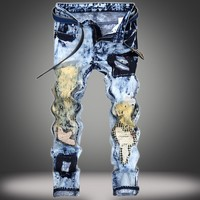 Ripped Holes Strong Character Weathered Patchwork Jeans [277905375261]