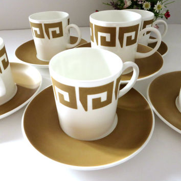 Susie Cooper Wedgwood vintage coffee cup and saucer, Keystone Old Gold