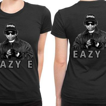 DCCKL83 Eazy E Photo Cover Grayscale 2 Sided Womens T Shirt