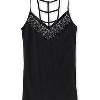 Caged-Back Printed V-Neck Cami