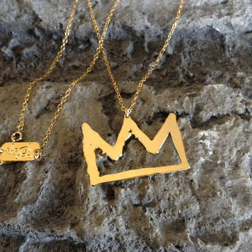 Gold Crown Gold Filled And Silver Necklace King Crown Pendant Sketch Fashion Design Art Jewelry King Basquiat Prince Stylish Minimalist