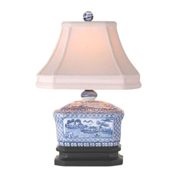 """Beautiful Blue and White Porcelain Candy Box Table Lamp Blue Willow 15"""""""