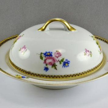 Covered Round Butter Dish w/ Liner Drain Plate Insert Early 1920s Noritake Porcelain China Delicate Floral Sprays Gold Trim Farmhouse Chic