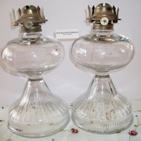 Antique Vintage Glass Oil Lamps Queen Anne burners, Large Old-Fashioned kerosene lamps Farm House Mid Century