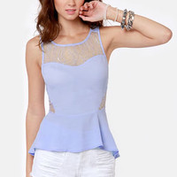Open Re-Lace-onship Light Blue Lace Top