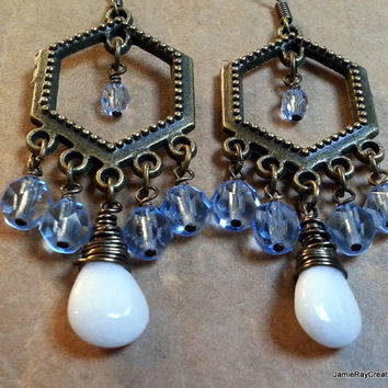 White Agate and Blue Glass Chandelier Earrings on Boho Style Brass Tone Hexagon Component - Boho Gypsy Earrings - Blue and White Earrings