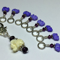 Tiny Purple Elephants Stitch Marker Set
