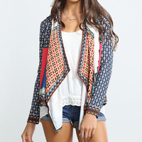 Cream & Red Geo Open Cardigan