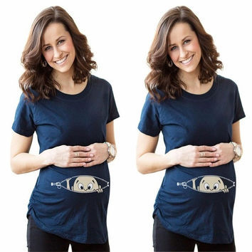 Pregnant Fashion Funny Pattern Printed Maternity Dark Blue Blouse Pregnancy Clothes Tee T-Shirt = 1946670596