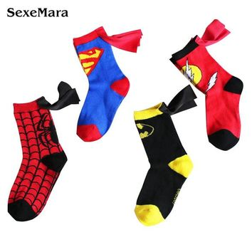 3-6T Boys Sport Socks Cotton Kids Socks Fashion Spiderman Superman Batman Design Children's Football Basketball Socks