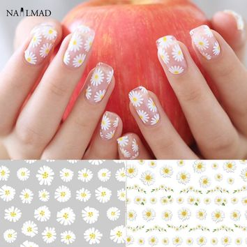 1 sheet Daisy Nail Art Stickers Colorful Flower Nail Sticker Adhesive 3D Nail Decals
