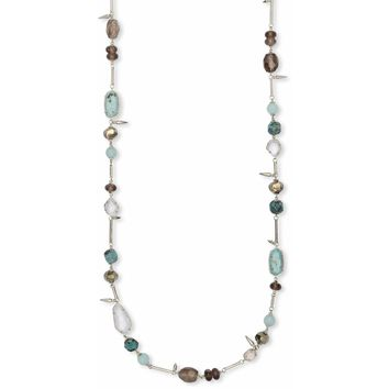 Kendra Scott: Ruth Silver Long Necklace In Turquoise Mix