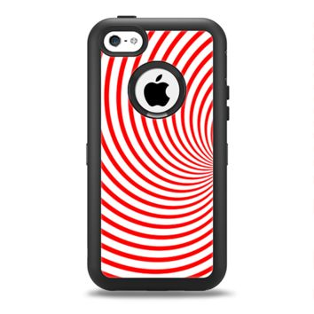 The Red & White Hypnotic Swirl Apple iPhone 5c Otterbox Defender Case Skin Set