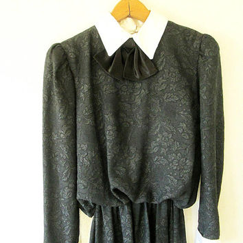 Wms Vintage Black LACE Collared BOW Long Sleeve Wednesday Addams Halloween Dress Sz M