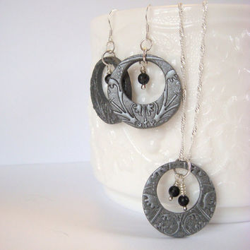 Silver Necklace and Earring Set  Polymer Clay Circle by JustClayin